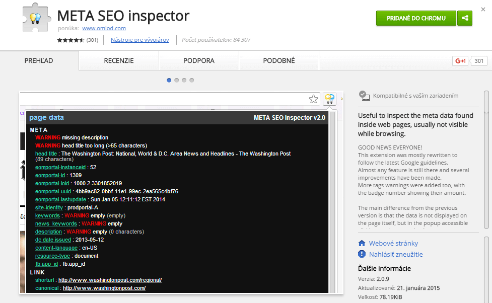 Rozšírenie pre Chrome na sledovanie meta tagov